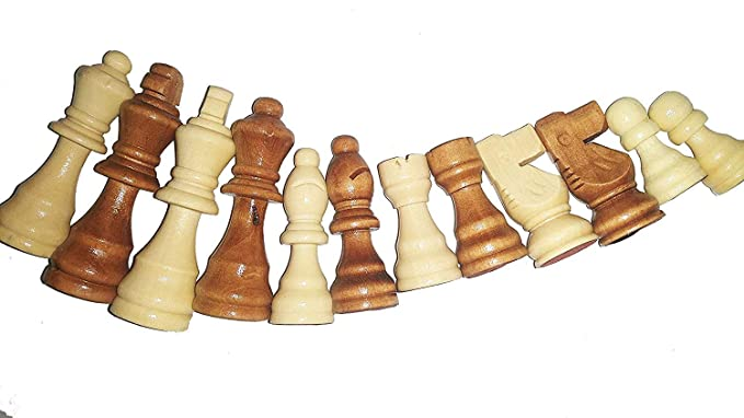 SIPL Wooden Chess Coins Pieces Figures Figurines Set- International Tournament Staunton Collector Chess- (White & Brown)