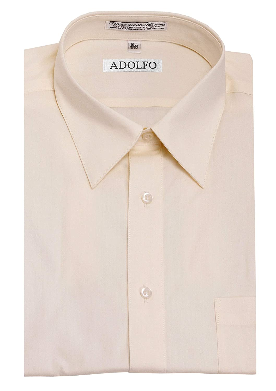 Fubotevic Men Slim Long Sleeve Solid Cotton Formal Button Down Dress Shirt