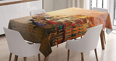 Imagen deABAKUHAUS Paisaje Mantele, Italiano Venezia Imagen, Resistente al Agua Lavable Colores No Destiñen Personalizado, 140 x 200 cm, Multicolor