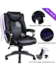 VANBOW Leather Memory Foam Office Chair - Adjustable Lumbar Support Knob and Tilt Angle High Back Executive Computer Desk Chair, Black