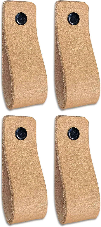 Tiradores de Cuero | Naturel / 4 piezas | 16,5 x 2,5 cm | Piel de Granos | 3 tornillos de color - tiradores para Accesorio de Mobilario, armario, cajón, puerta