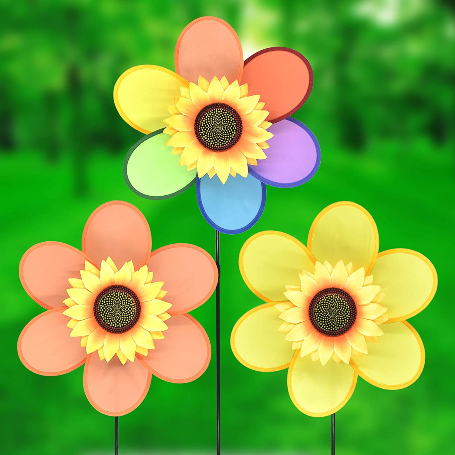 FENELY Sunflower Garden Pinwheels Windmill Wind Spinner Kids Toys for Yard Decor Bird Deterrent Decorative Garden Stakes Outdoor Whimsical Baby Gifts