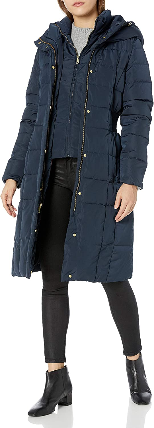 Cole Haan Womens Taffeta Quilted Down Coat with Elasticated Side Waist Detail