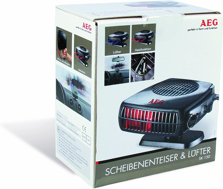 AEG 97201 Scheibenenteiser mit L/üfter warm // kalt Standfuss und Haltegriff mit 12 V Kfz-Anschluss 150 Watt