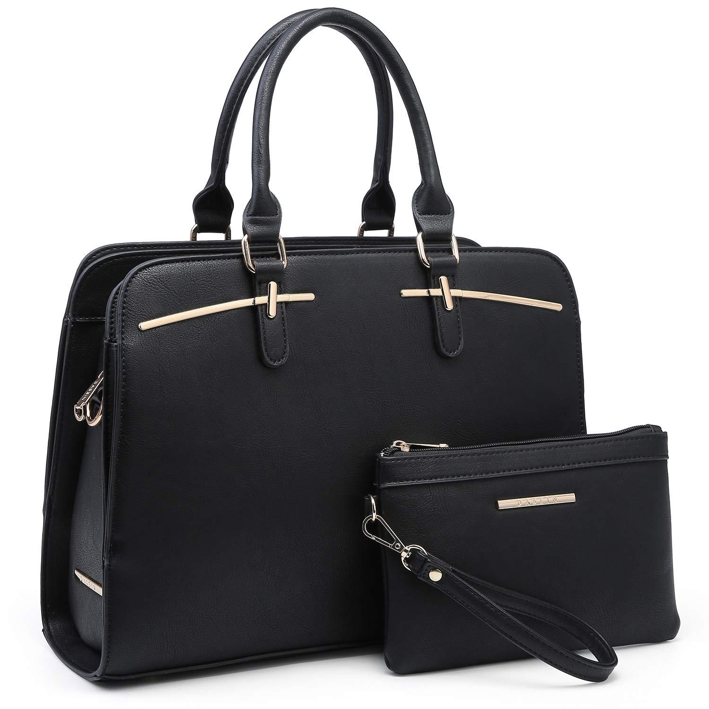 02 Black Women Handbag Fashion Satchel Multi Pockets Purse 2 Pieces Set Triple Compartment Shoulder Bag Faux Leather