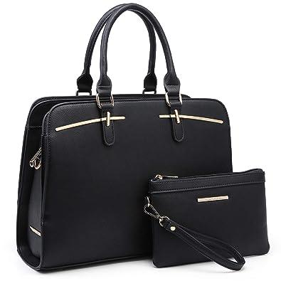 403646d8b Amazon.com: Women Handbags Satchel Purses Top Handle Work Bag Briefcases Tote  Bag With Matching Wallet (2-Black): Shoes