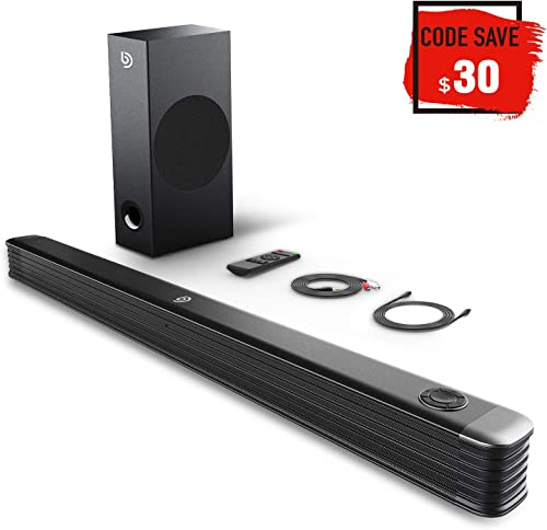 TV Sound Bar, 150W Soundbar with Wireless Subwoofer, Bomaker 2.1 Channel Sound Bar, Clear Treble, 34 Inch Wired Wireless Bluetooth 5.0, Enhanced Bass Adjustment, Optical Coaxial Aux USB
