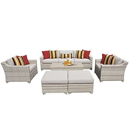 Fairmont Patio Furniture.Amazon Com Tk Classics Fairmont 08c 8 Piece Outdoor Wicker Patio