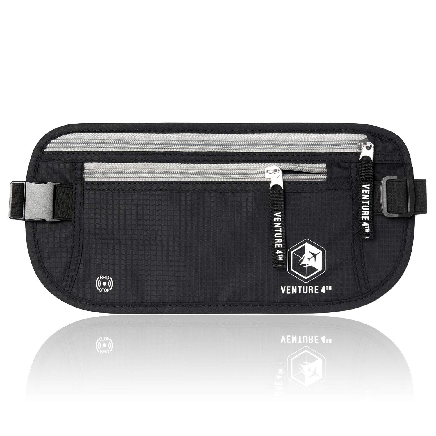 VENTURE 4TH RFID Money Belt Protect Yourself From Travel Theft Comfortable Durable and Lightweight (Black) by VENTURE 4TH