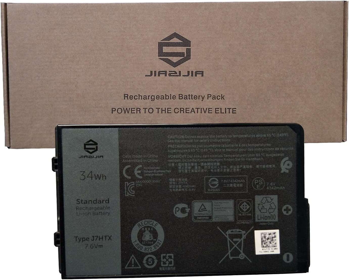 JIAZIJIA J7HTX Laptop Battery Replacement for Dell Latitude 7202 7212 7220 Rugged Extreme Tablet Series Notebook 02JT7D 7XNTR FH8RW Black 7.6V 34Wh 4342mAh