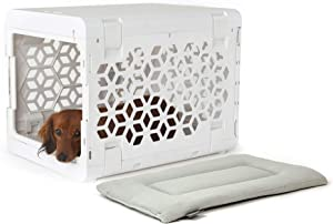 KindTail Pawd Fully Collapsible Dog Crate and Washable Dog Bed, Stylish Portable Dog Crate and Crate Pad for Pet Travel, Pet Kennel with Dog Bed or Cat Bed (White Set)