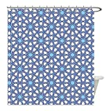 Liguo88 Custom Waterproof Bathroom Shower Curtain Polyester Arabian Decor Collection Traditional Moorish Turkish Tangled Pattern and Geometric Lines Mosque Islamic Art Print Blue White Decorative ba
