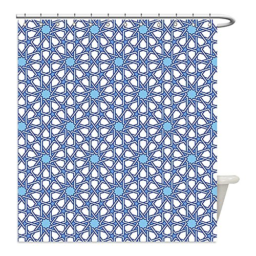 Liguo88 Custom Waterproof Bathroom Shower Curtain Polyester Arabian Decor Collection Traditional Moorish Turkish Tangled Pattern and Geometric Lines Mosque Islamic Art Print Blue White Decorative ba by liguo88