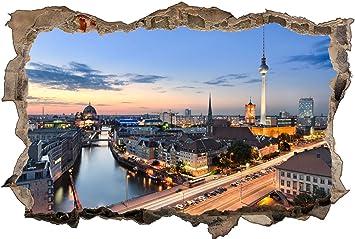 Skyline von Berlin 3D-Look Durchbruch Wandtattoo Aufkleber-Sticker