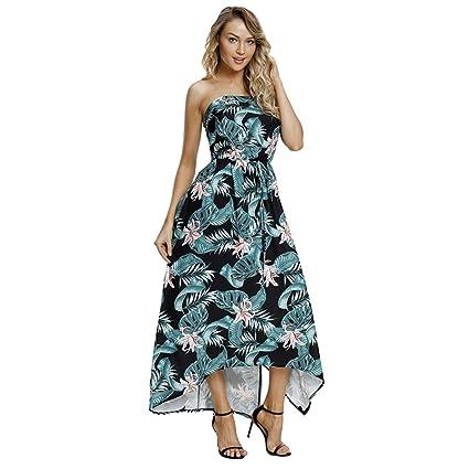 LF DD Vestido de playa sin mangas de verano Verde selva Bohemia vestido largo (Verde