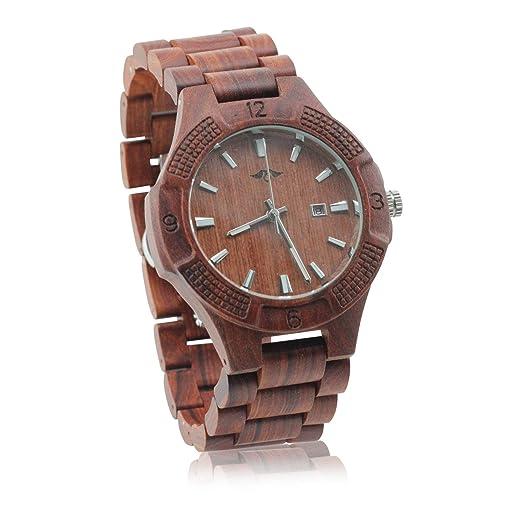 08f894e0fe99 ANGIE madera creaciones grabada con láser hombres de madera reloj   Amazon.es  Relojes