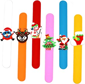 Slap Bracelets Silicone Wristbands Accessories Wrist Strap(6pack)with Christmas theme, for Kids&Adults Birthday&Theme Party Favors Slap Bands,Classroom Prizes Exchanging Gifts