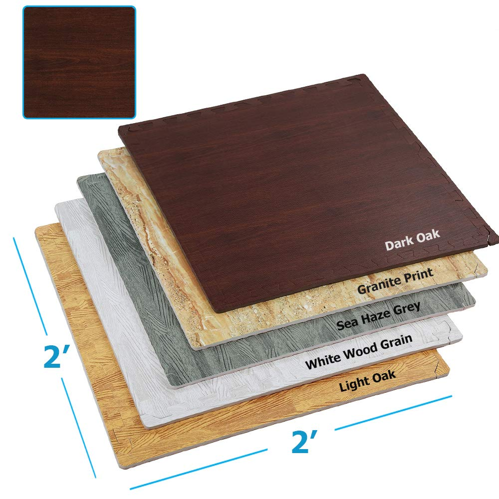Clevr 100 Sq. Ft EVA Interlocking Foam Mats Flooring, Dark Wood Oak Grain Style - (24'' x 24'', 25 pcs)   Includess Tile Borders   1 Year Limited Warranty   Make Perfect Square Space for Trade Shows