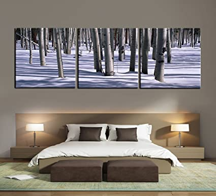 amazon com winter large tree photography modern painting 3 panel