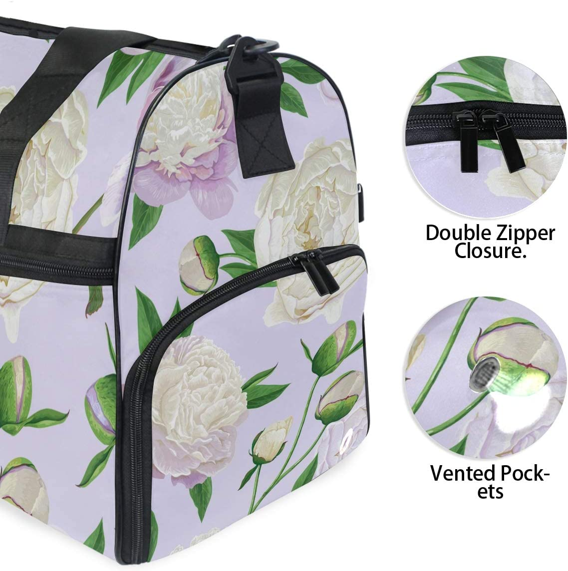 Travel Duffels Spring Blooming Flowers Duffle Bag Luggage Sports Gym for Women /& Men