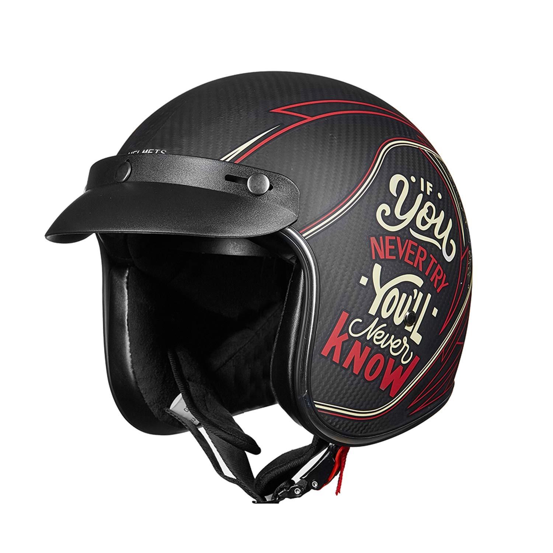 Harley Motorcycle Helmet, Carbon Fiber Adult Retro 3/4 Motorcycle Men and Women Helmet, in line with DOT Certification and ECE Standards,L