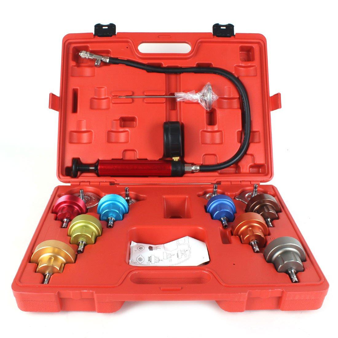 14PCS Cooling System Leak Tester Universal Car Radiator Pressure Kit Test Gauge Set Tools