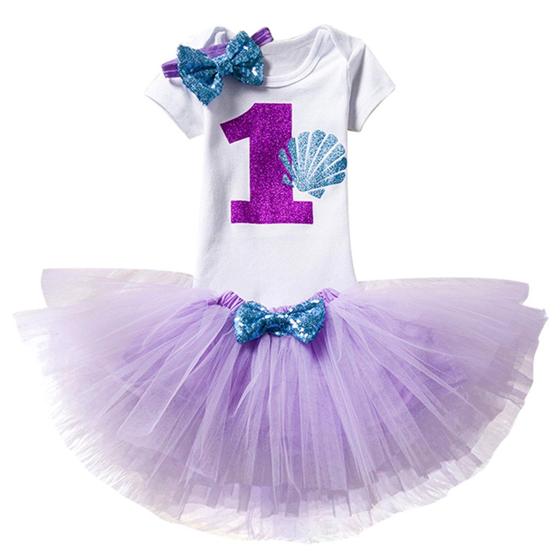 NNJXD Girl Shell Tutu 1st Birthday 3 Pcs Outfits Romper+Dress+ Black Headband Size (1) Purple 1 Year