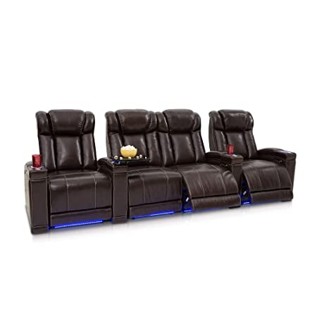 Seatcraft Sierra Home Theater Seating Leather Power Recline, Adjustable Powered Headrests, Hidden in-Arm Storage, USB Charging, Lighted Cup Holders and Base, Row of 4 with Middle Loveseat, Brown
