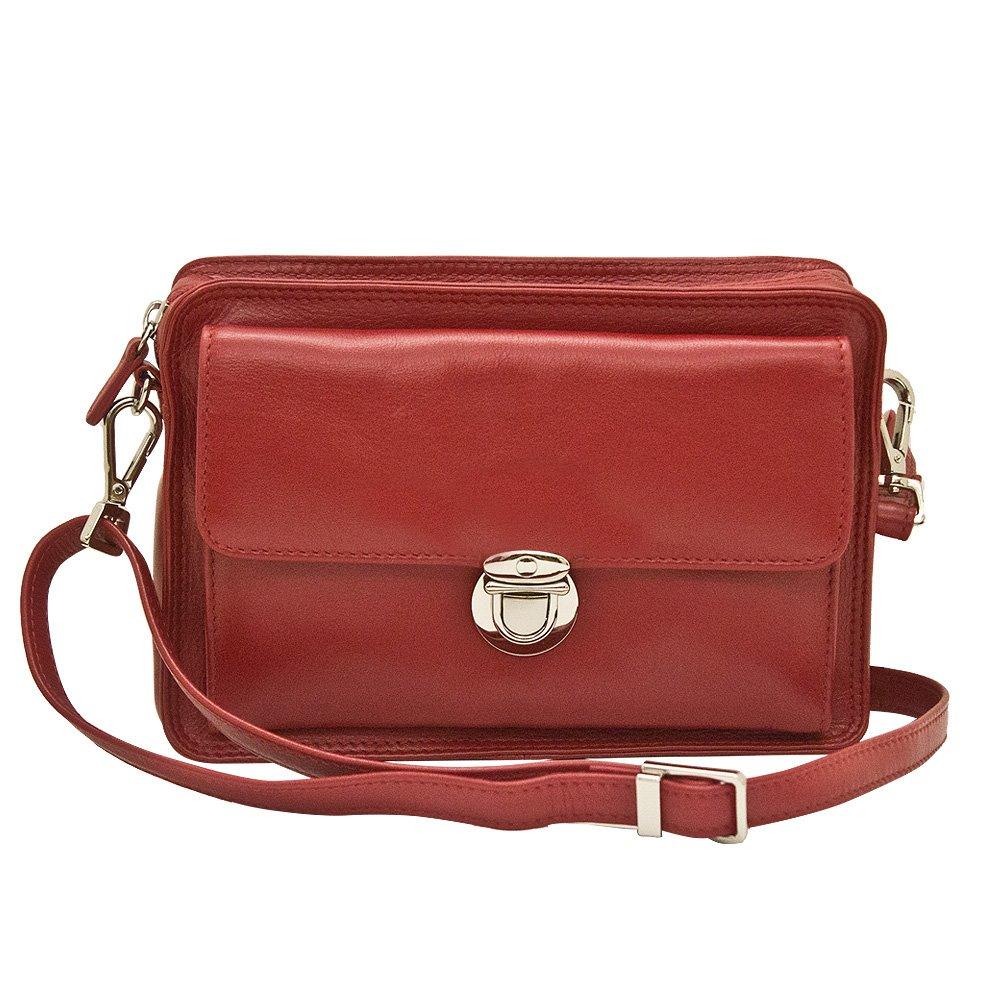 760e3e2d6050 ILI 6219 Leather Crossbody Organizer Handbag