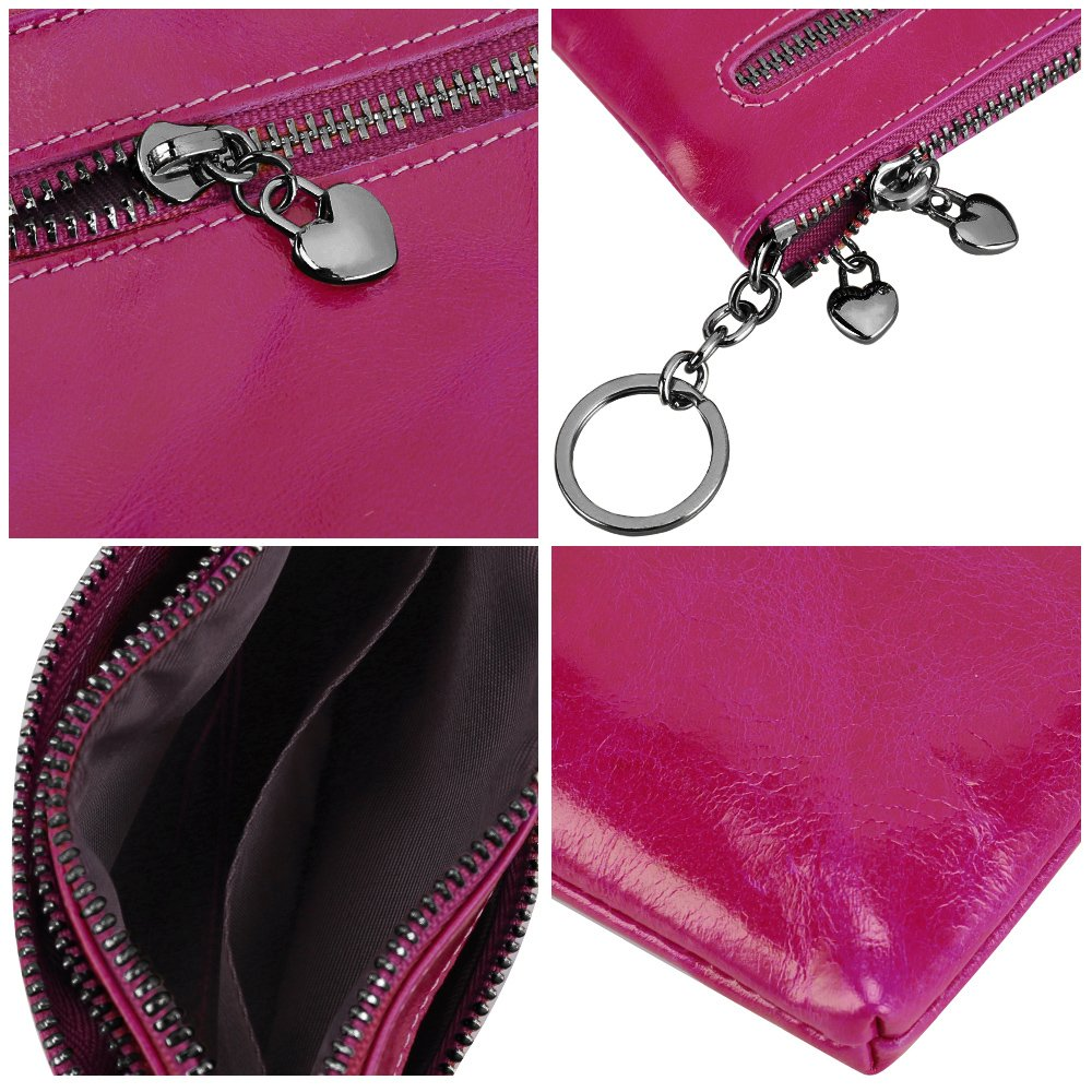 S-ZONE Womens Genuine Leather Triple Zipper Small Wallet Change Coin Purse Card Holder with Key Ring S-ZONE D10V059A