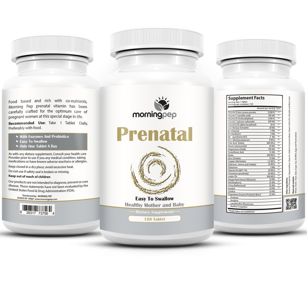 Prenatal Vitamins with Folate Probiotics and Enzymes for Morning Sickness and Nausea, 4 Month Supply One A Day Easy to Swallow Tablet for Expecting and Nursing Mothers Postnatal