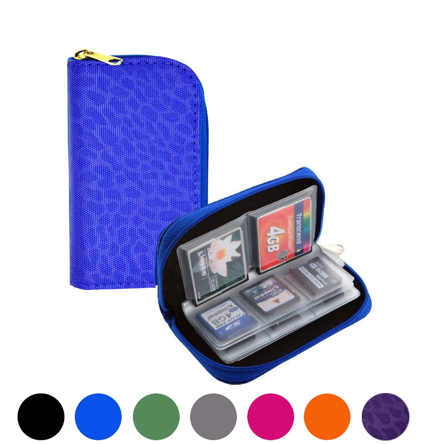Mixtecc Memory Card Carrying Case - Suitable for SDHC and SD Cards, 8 Pages and 22 Slots Memory Card Holder Bag Wallet Bag for Media Storage Organization (Purple Leopard)