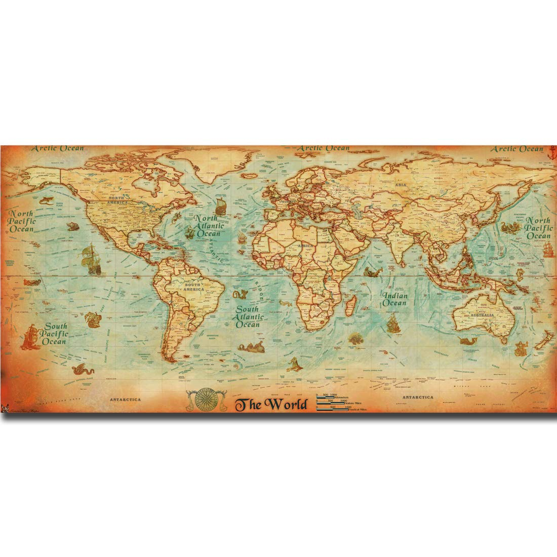Large Vintage Map Of The World.Amazon Com The Old World Map Large Vintage Style Retro Paper Poster