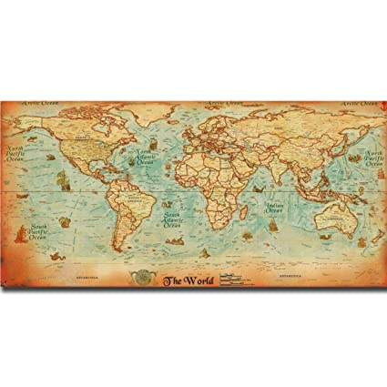 Large Paper World Map.Amazon Com The Old World Map Large Vintage Style Retro Paper Poster