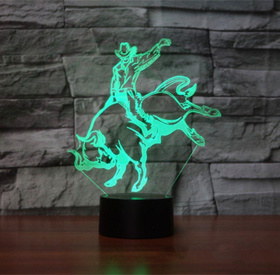 3D Night Lighting Bull Riders Matador Touch Botton 7 Color Change Decor LED Lamp Home Office Entertainment