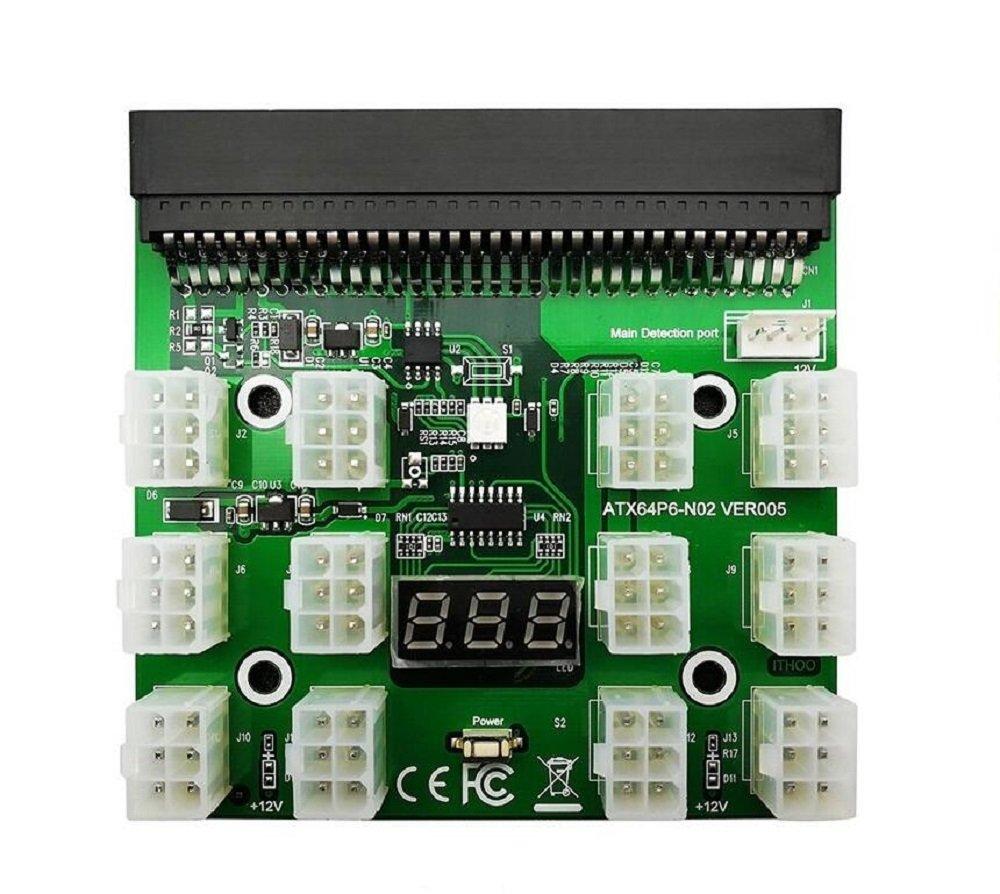 Tekit Ethereum Mining ETH ZEC LTC 1200W/750W Server PSU Power Supply Unit to GPU Breakout Board Adapter + 12pcs 6-Pin PCIe to (6+2Pin) PCIe Graphics Card Power Cables (GPU Breakout Board+12PCS cable) by tekit (Image #2)