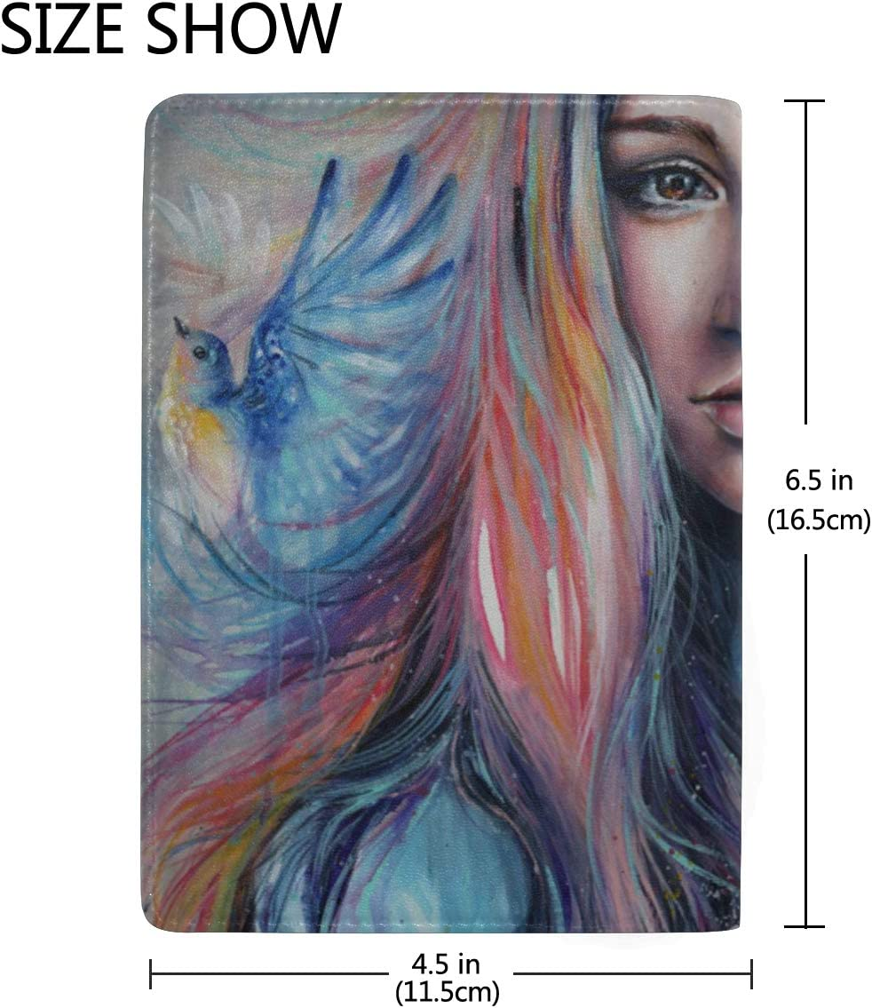 Beautiful Girl Oil Painting Fashion Blocking Print Passport Holder Cover Case Travel Luggage Passport Wallet Card Holder Made With Leather For Men Women Kids Family