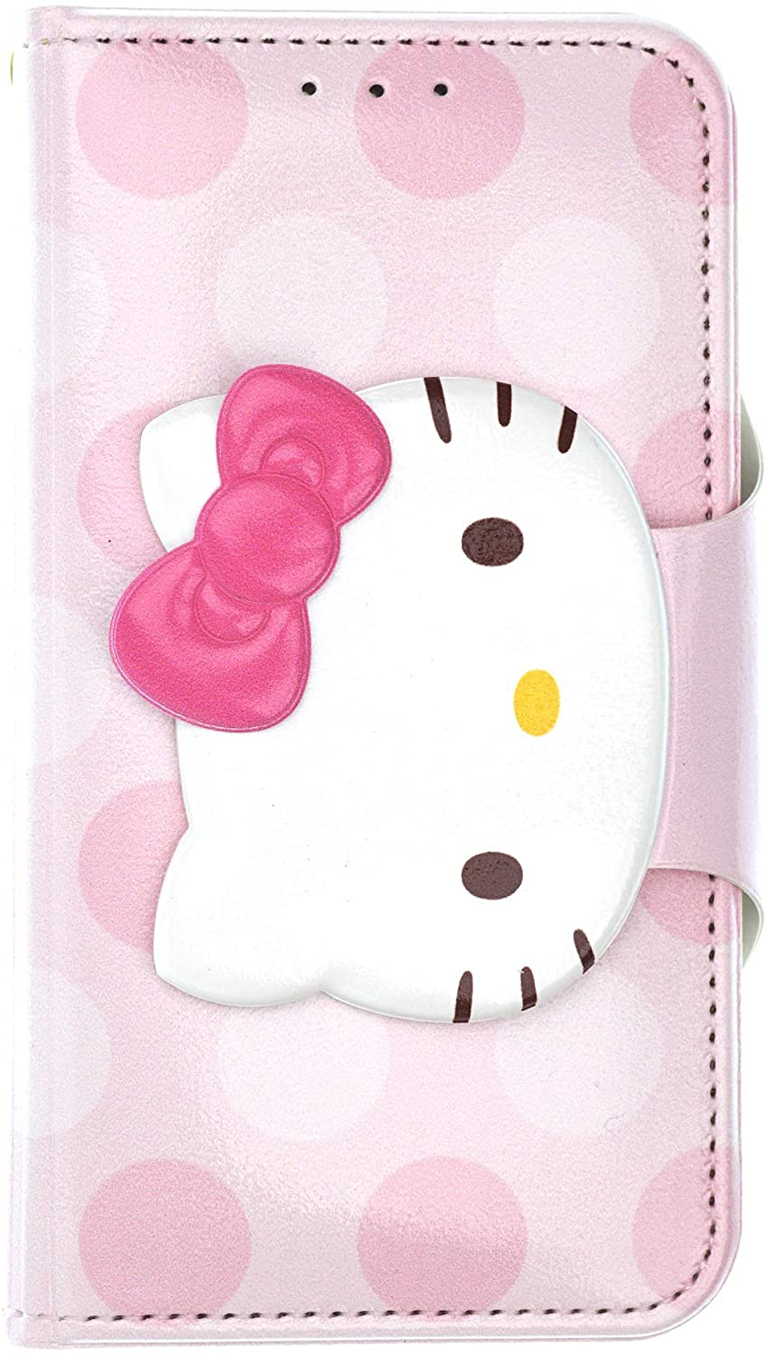 iPhone 8 Plus/iPhone 7 Plus Case Hello Kitty Cute Diary Wallet Flip Mirror Cover [ iPhone 8 Plus/iPhone 7 Plus ] Case - Face Button Hello Kitty Baby Pink
