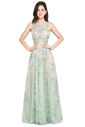 KuDress Sleeveless Long Tulle Flowers Chic A-line Prom Dresses (S, Green)
