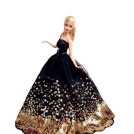 2a04ef11802ac WayIn® Magnifique Robe de soirée à la main avec Paillettes pour la poupée  Barbie Noir