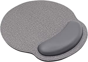 Ergonomic Leather Mouse Pad with Wrist Rest Support,Comfort Memory Foam,Waterproof Surface,Non- Slip Rubber Base for Computer Laptop & Mac,Lightweight Rest for Home,Office & Travel (Grey)