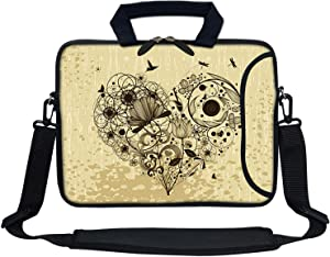 Meffort Inc 13 Inch Neoprene Laptop Bag with Extra Side Pocket Fits for 12.5 to 13.3 Inch Size Computer - Hearts of Flower