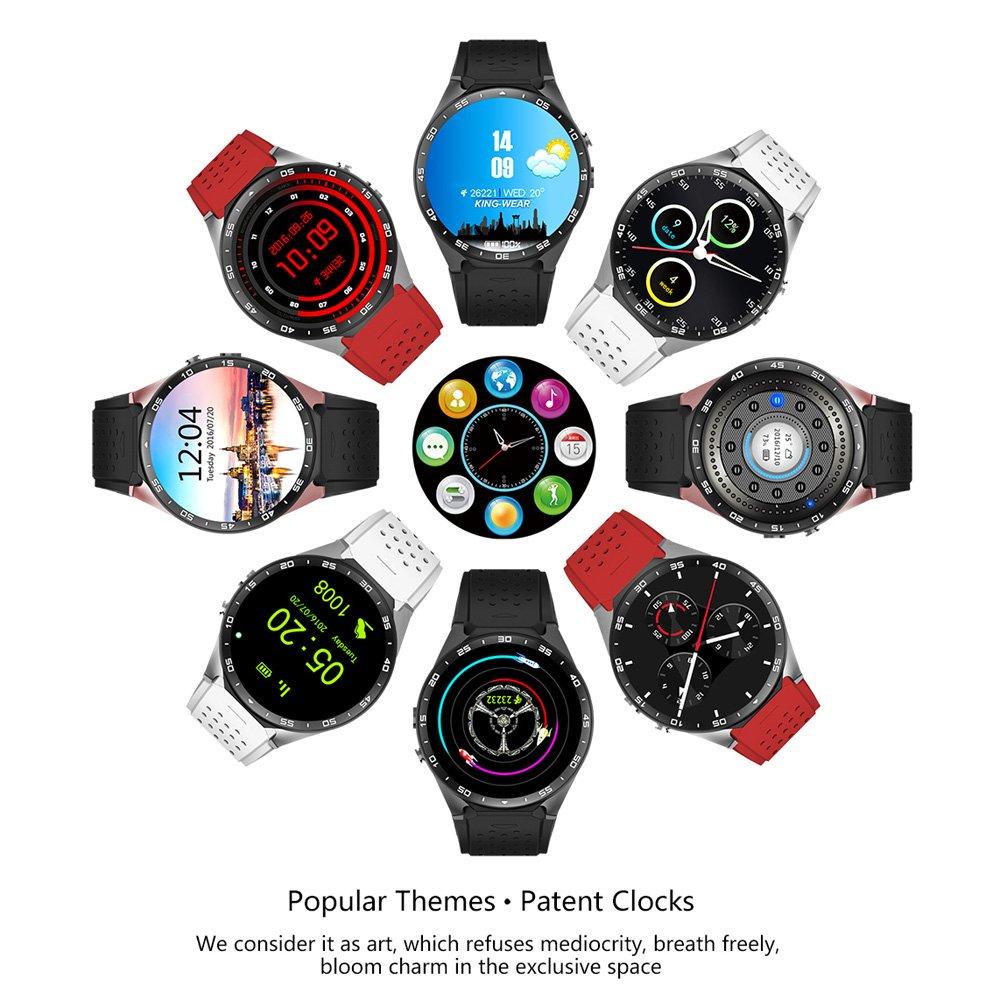Kingwear KW88 Smartwatch Teléfono 3G WCDMA 1,39 pulgadas Pantalla MTK6580 Quad-core 1,3 GHz ROM 4 GB + 512 MB RAM Android 5.1 Cámara 2,0 MP Podómetro Ritmo ...
