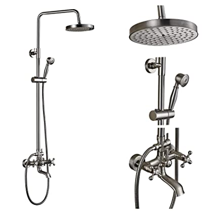 Shower Faucets Shower Equipment Luxury Black Bronze Shower Faucet Set 3-function Switch Wall Mount Rain Shower Faucet With Hand Shower Tub Spout Hot Cold Mixer