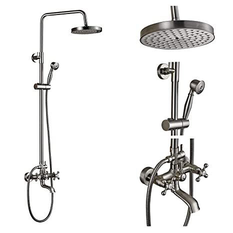 Rain Shower Head With Handheld Spray.Rozin Wall Mounted Top Rainfall Shower Set Tub Faucet With Handheld Spray Brushed Nickel