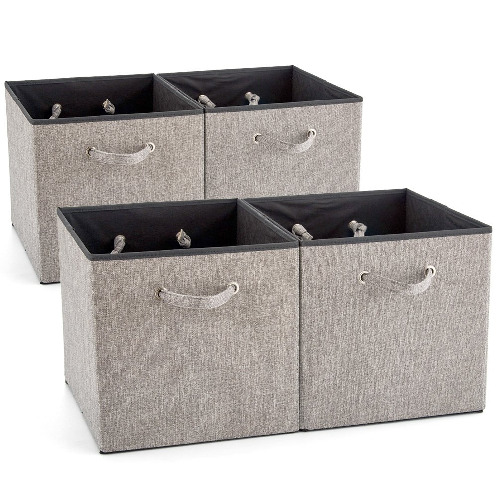 EZOWare 4 Pack Fabric Foldable Cubes Bin Organizer Container with Handles (10.5 x 10.5 x 11 inch) for Drawer, Nursery, Closet, Office, Home - Gray