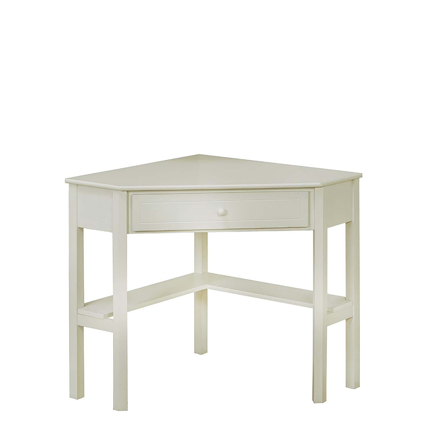Target Marketing Systems Wood Corner Desk with One Drawer and One Storage Shelf, Antique White Finish