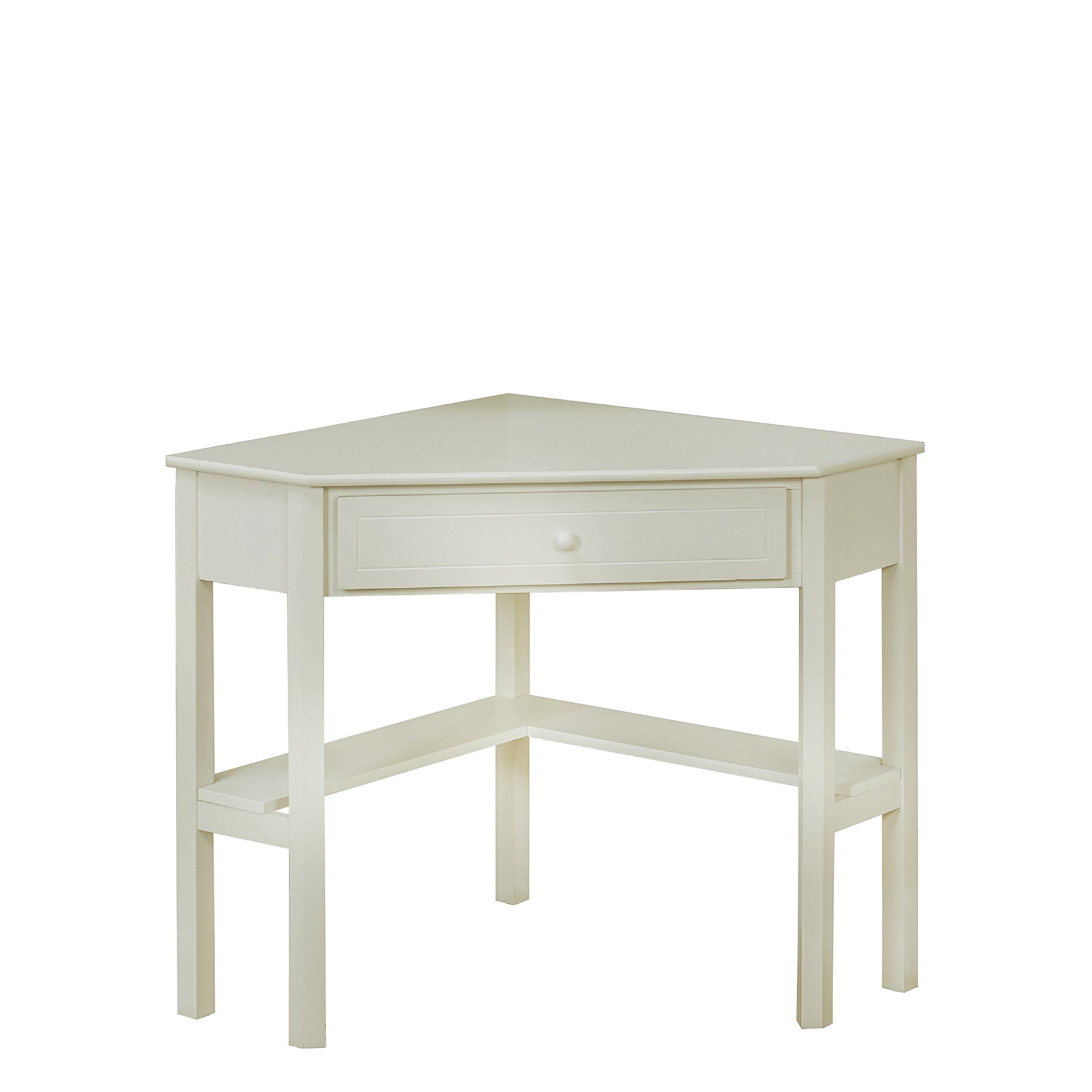 Target Marketing Systems Wood Corner Desk with One Drawer and One Storage Shelf, Antique White Finish by Target Marketing Systems