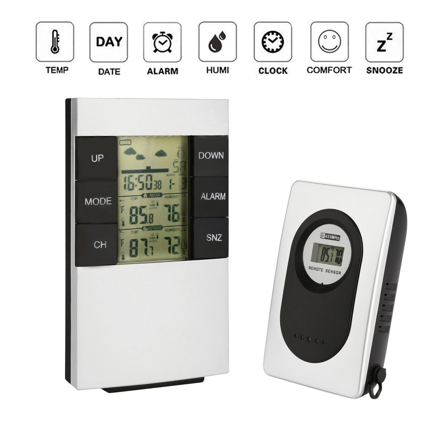 WElinks Multifunctional LCD Display Wireless Weather Forecast Alarm Clock Indoor/Outdoor Themometer Humidity Monitor with Calendar/Snooze Function