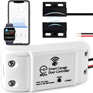 eKyro Smart Garage Door Opener - WiFi Remote Controller Compatible with Alexa, Google Home, iPhone, IFTTT, 1 2 or 3 Door Systems